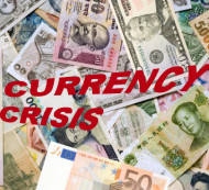 Currency and Stock Market Charts of Four Countries in Crisis
